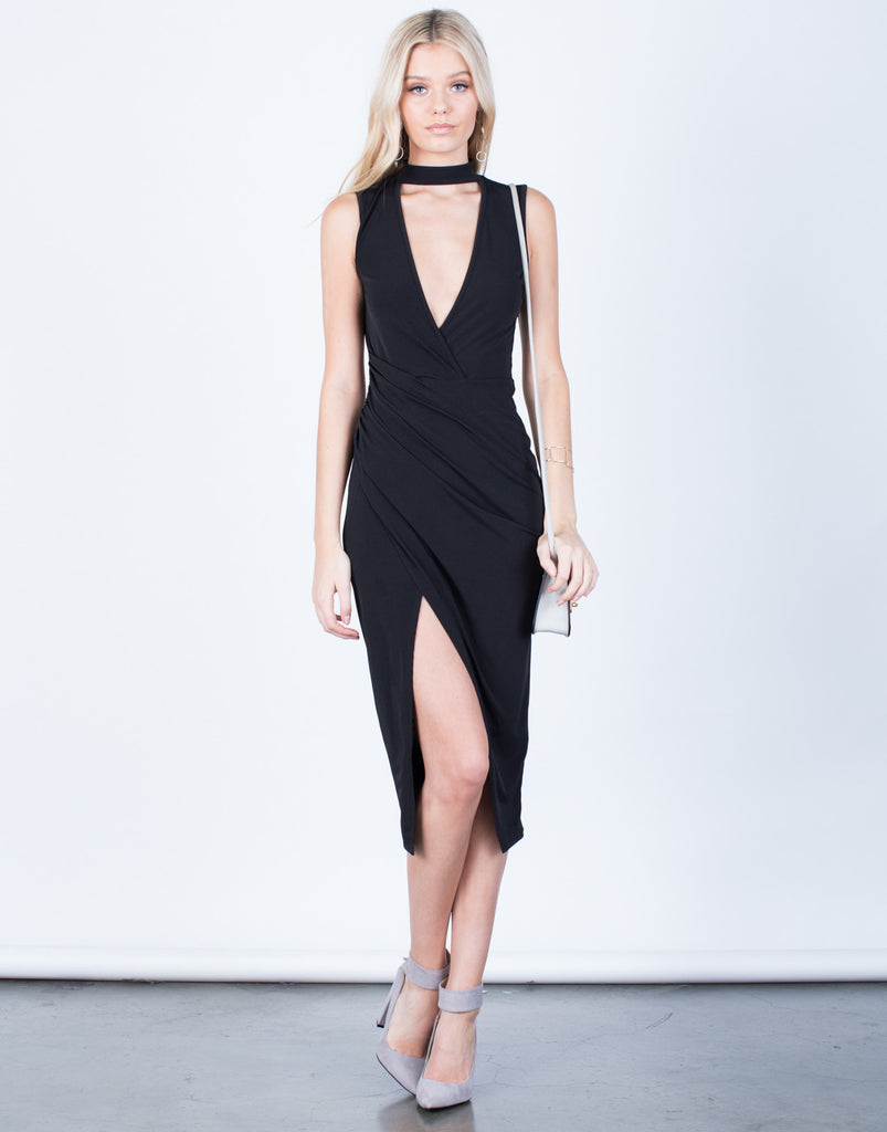 Front View of Choker Wrapped Midi Dress