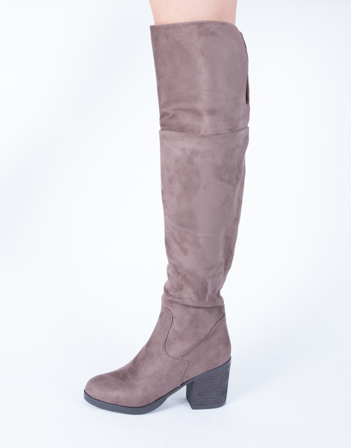 Chunky Heel Suede Over-the-Knee Boots