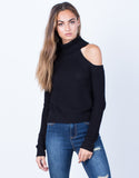 Front View of Chunky Knit Sweater Top