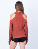 Back View of Chunky Knit Sweater Top