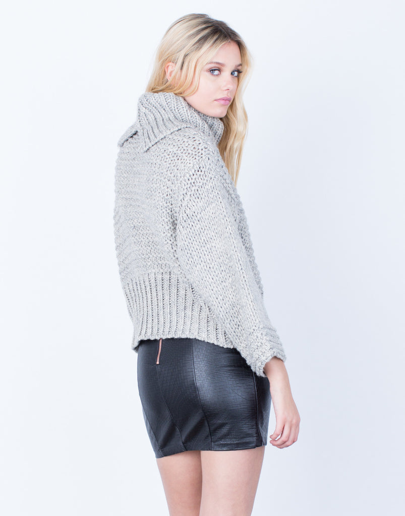 Back View of Chunky Knit Wool Sweater