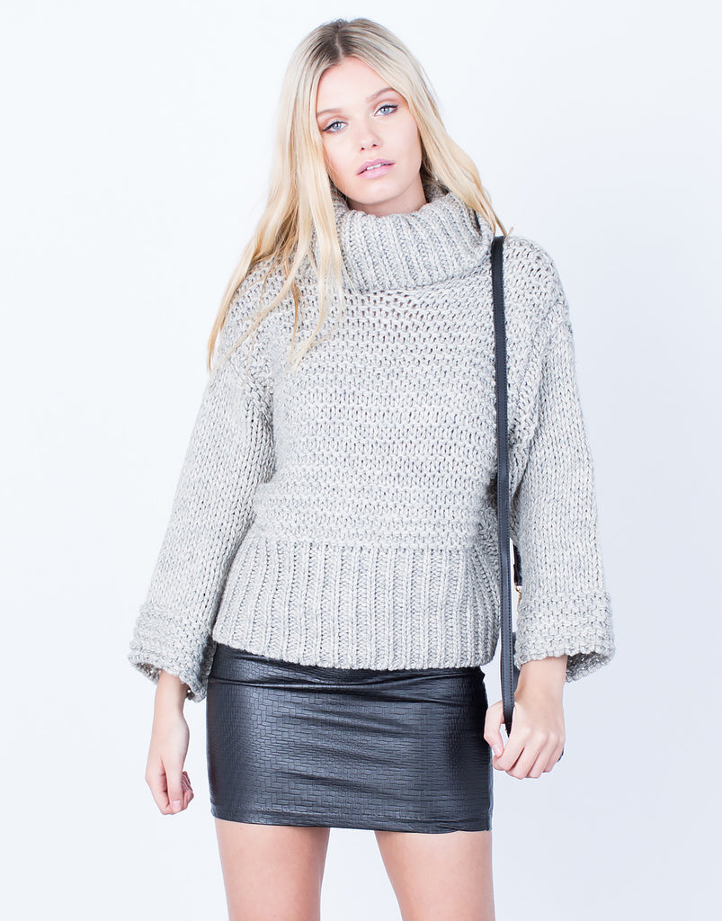 Front View of Chunky Knit Wool Sweater
