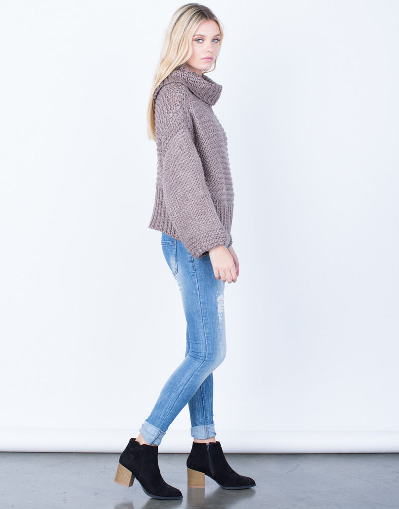 Side View of Chunky Knit Wool Sweater