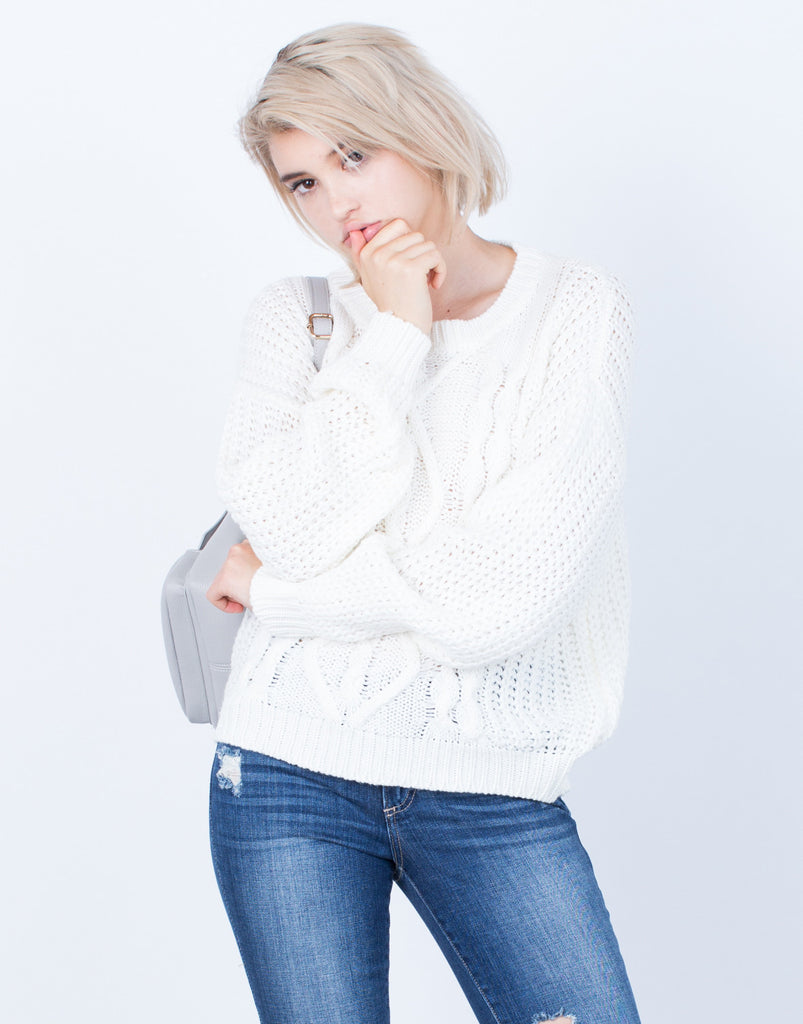Front View of Chunky Mixed Knit Sweater