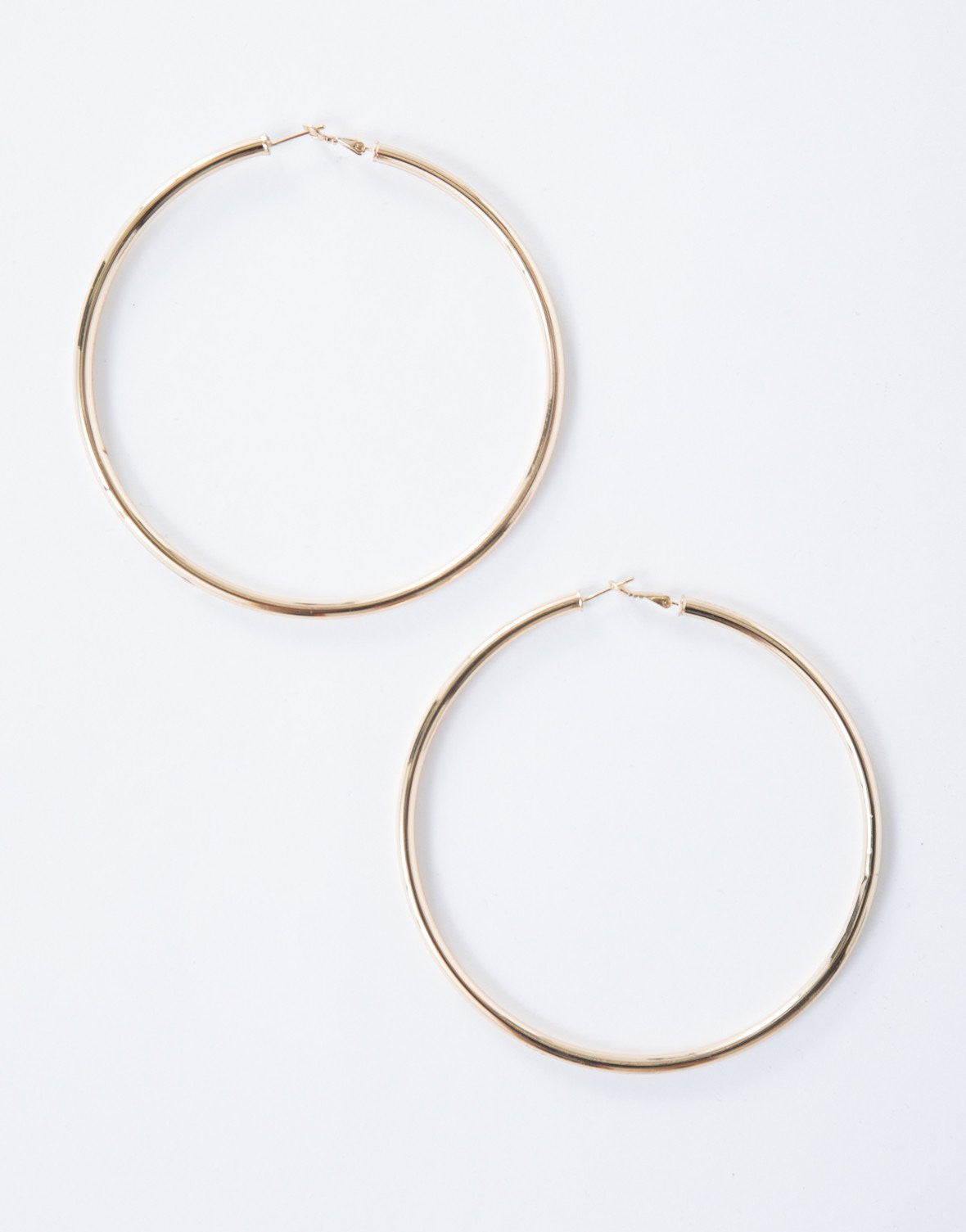 Gold Chunky Oversized Hoops - Front View