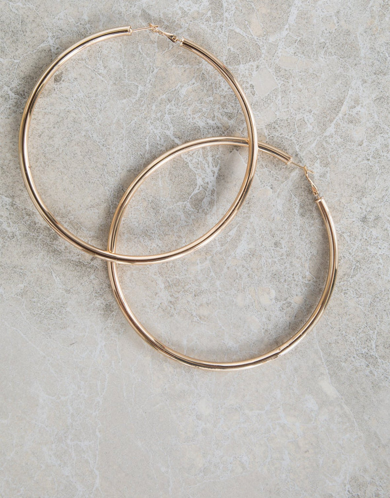 Gold Chunky Oversized Hoops - Deail