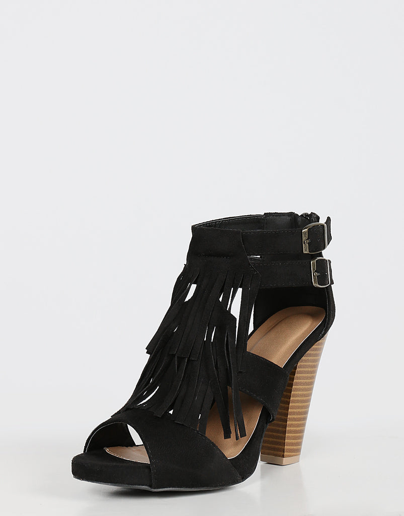 Chunky Fringed Heels Shoes -2020AVE