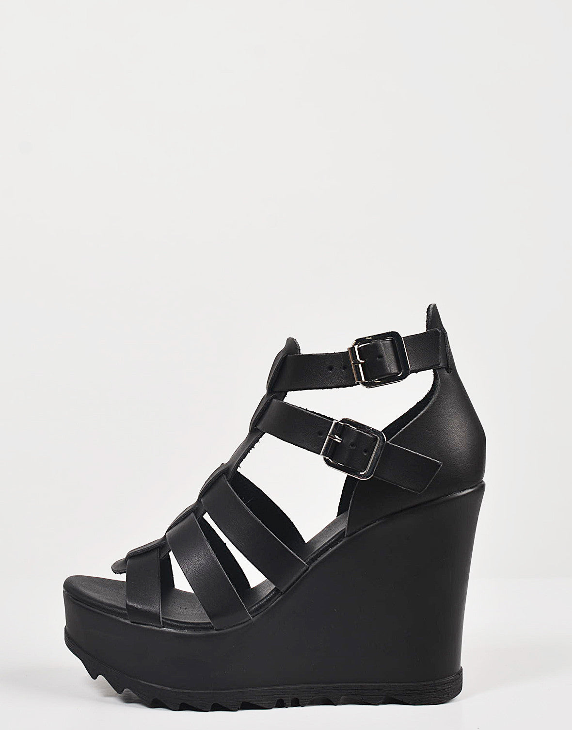Side View of Chunky Gladiator Wedges