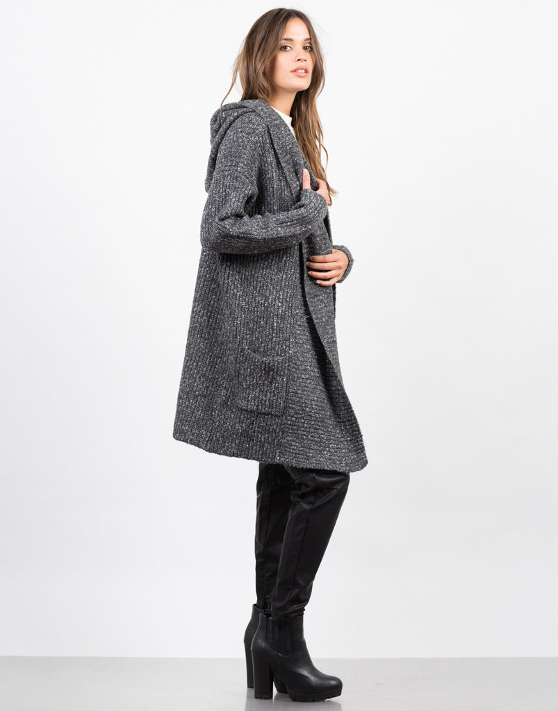Side View of Chunky Hooded Cardigan