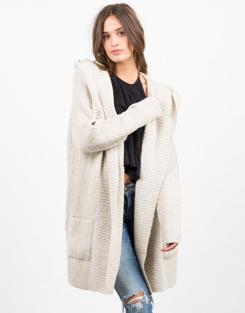 Front View of Chunky Hooded Cardigan