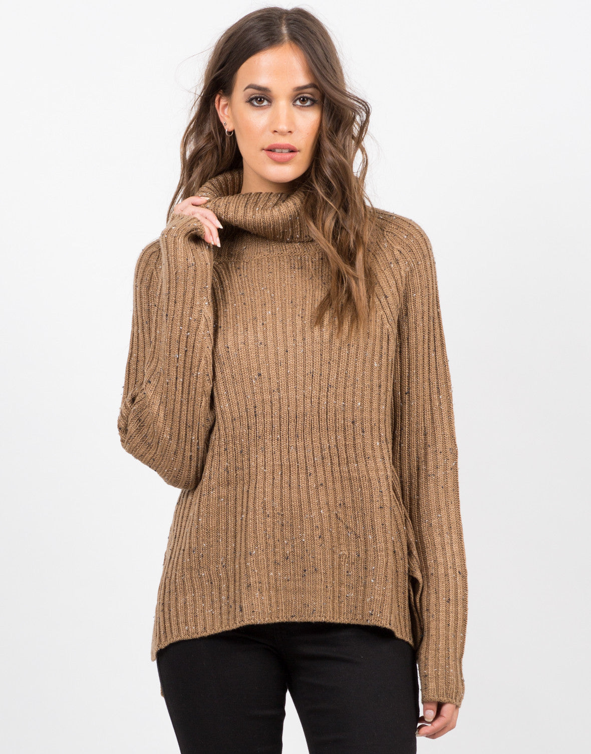 Front View of Chunky Knit Turtleneck Sweater