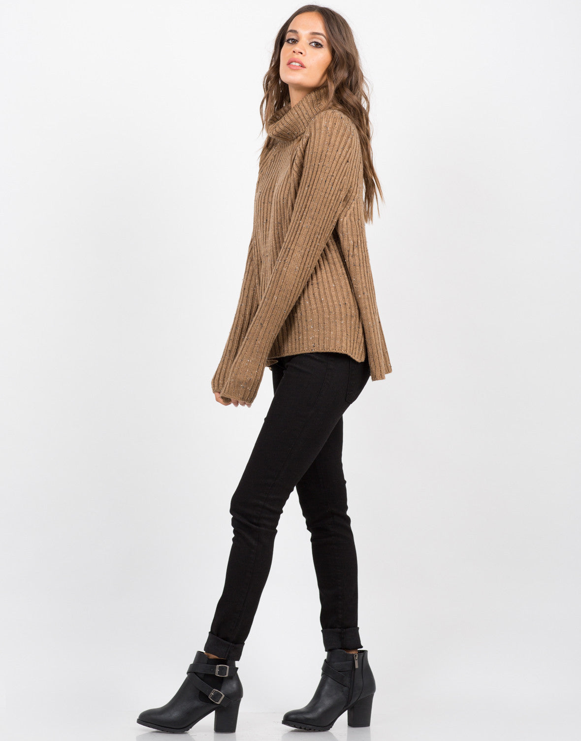 Side View of Chunky Knit Turtleneck Sweater