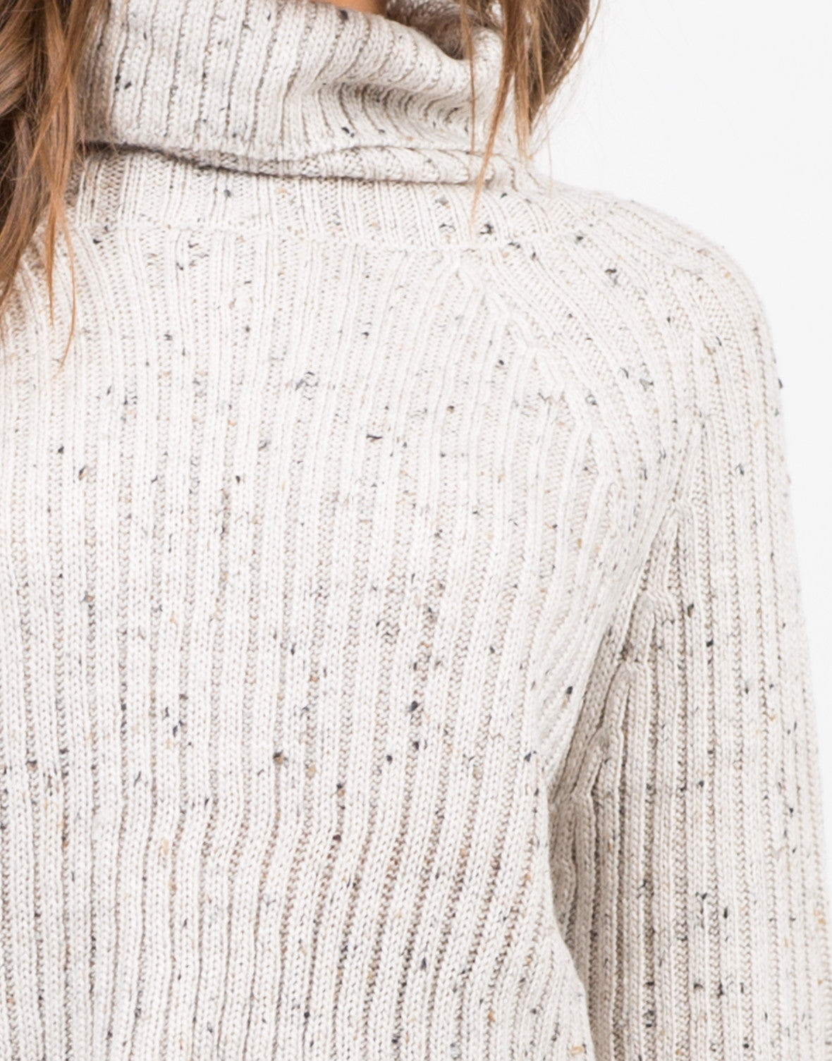 Detail of Chunky Knit Turtleneck Sweater