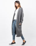 Side View of Chunky Long Knit Cardigan