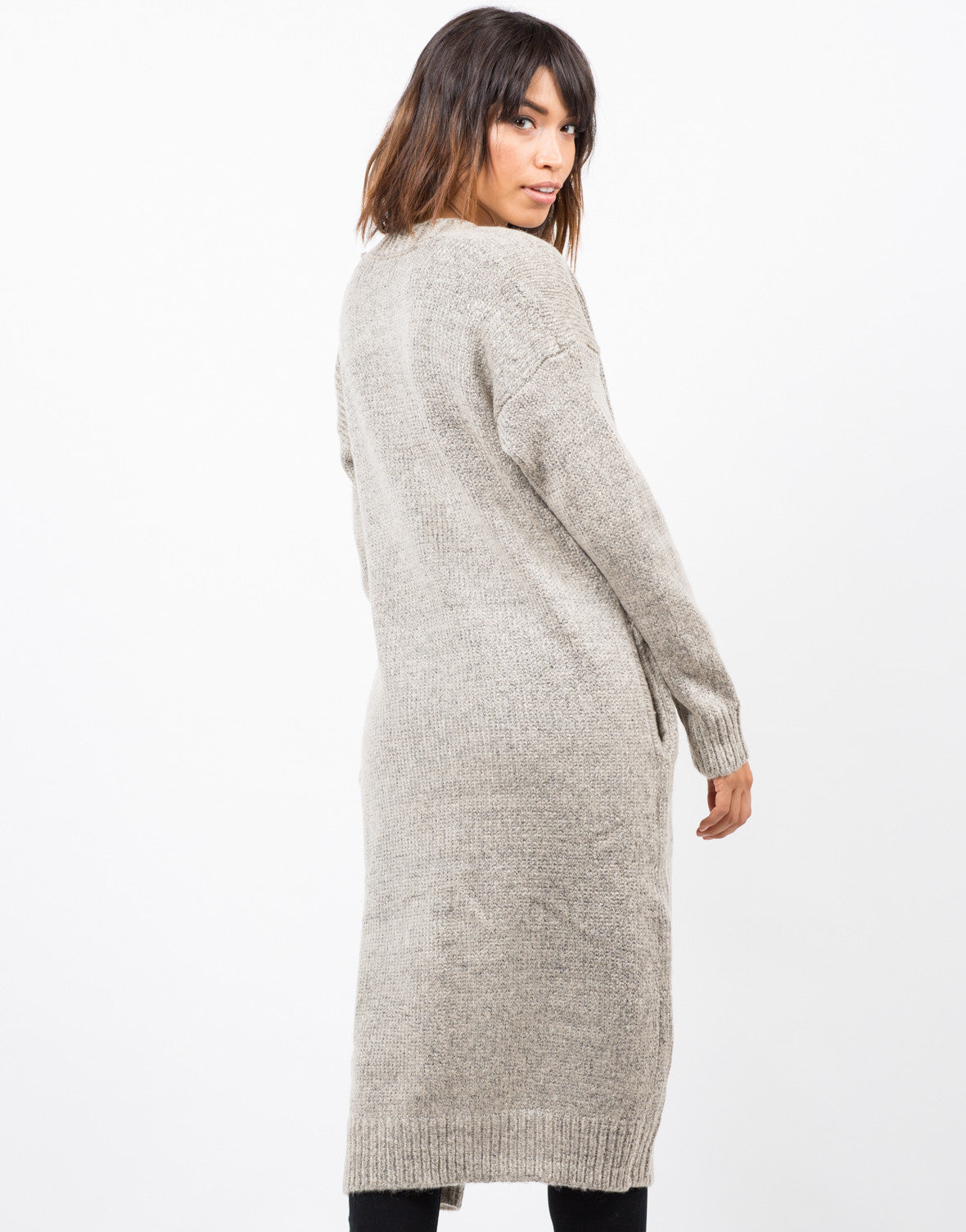 Back View of Chunky Long Knit Cardigan