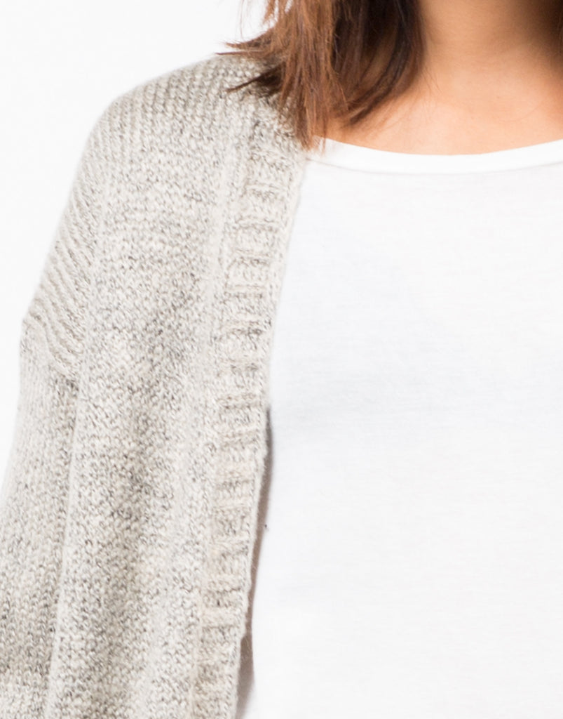 Detail of Chunky Long Knit Cardigan