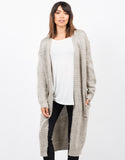 Front View of Chunky Long Knit Cardigan