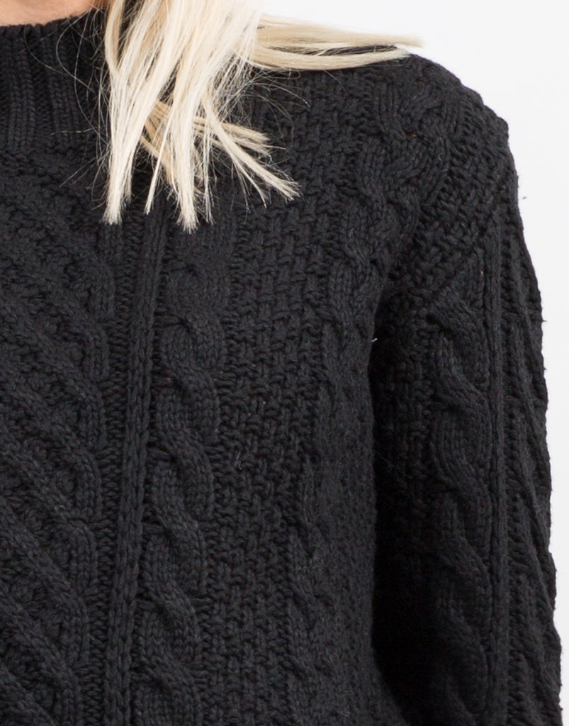 Detail of Chunky Long Sleeve Knit Sweater