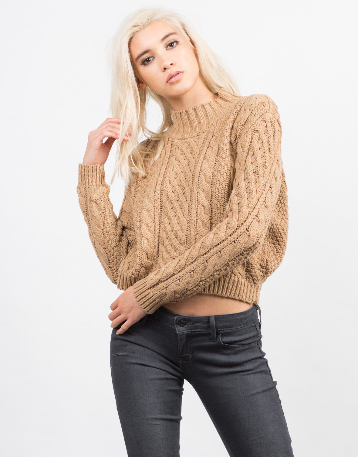 Front View of Chunky Long Sleeve Knit Sweater