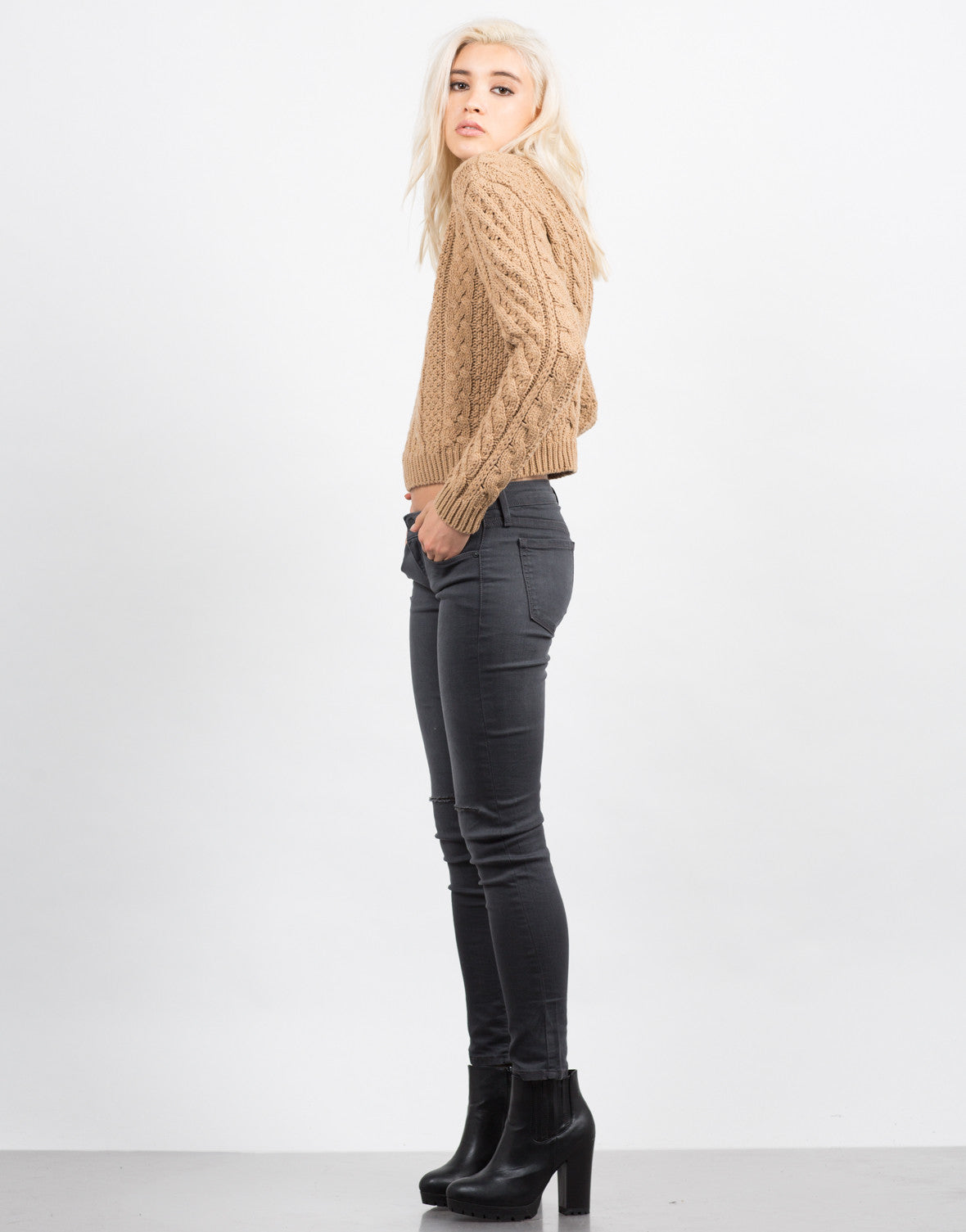 Side View of Chunky Long Sleeve Knit Sweater