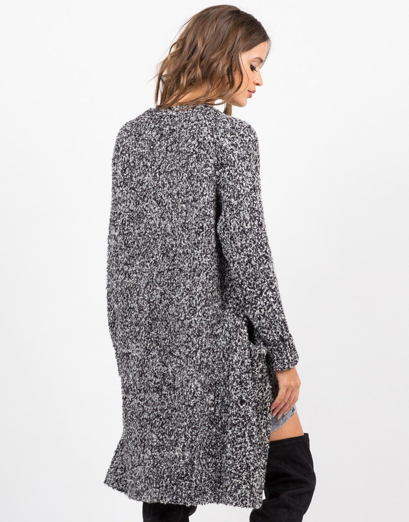 Back View of Chunky Marled Cardigan