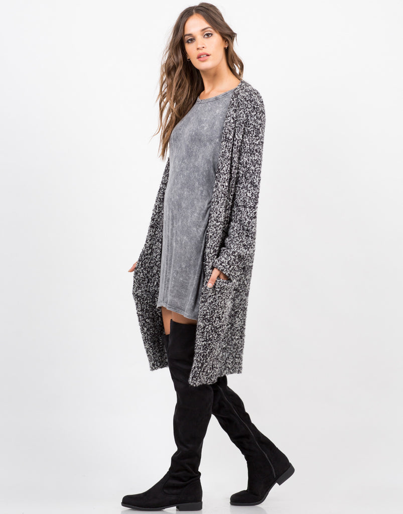 Side View of Chunky Marled Cardigan