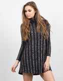 Front View of Chunky Marled Turtleneck Dress