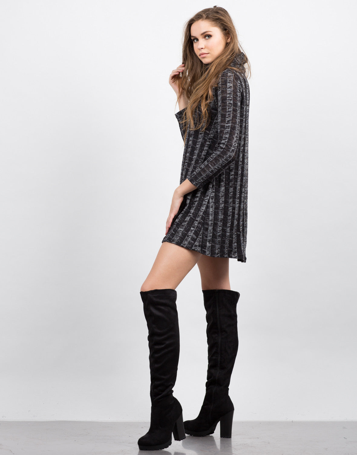 Side View of Chunky Marled Turtleneck Dress