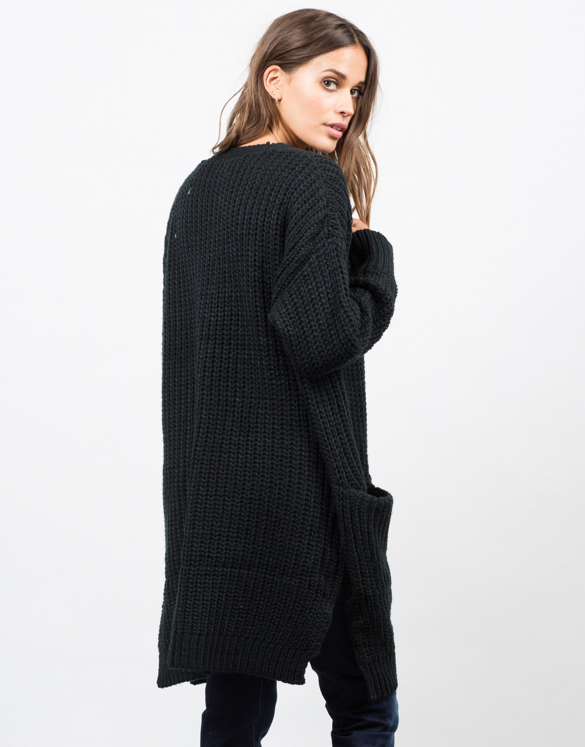 Back View of Chunky Oversized Knit Cardigan