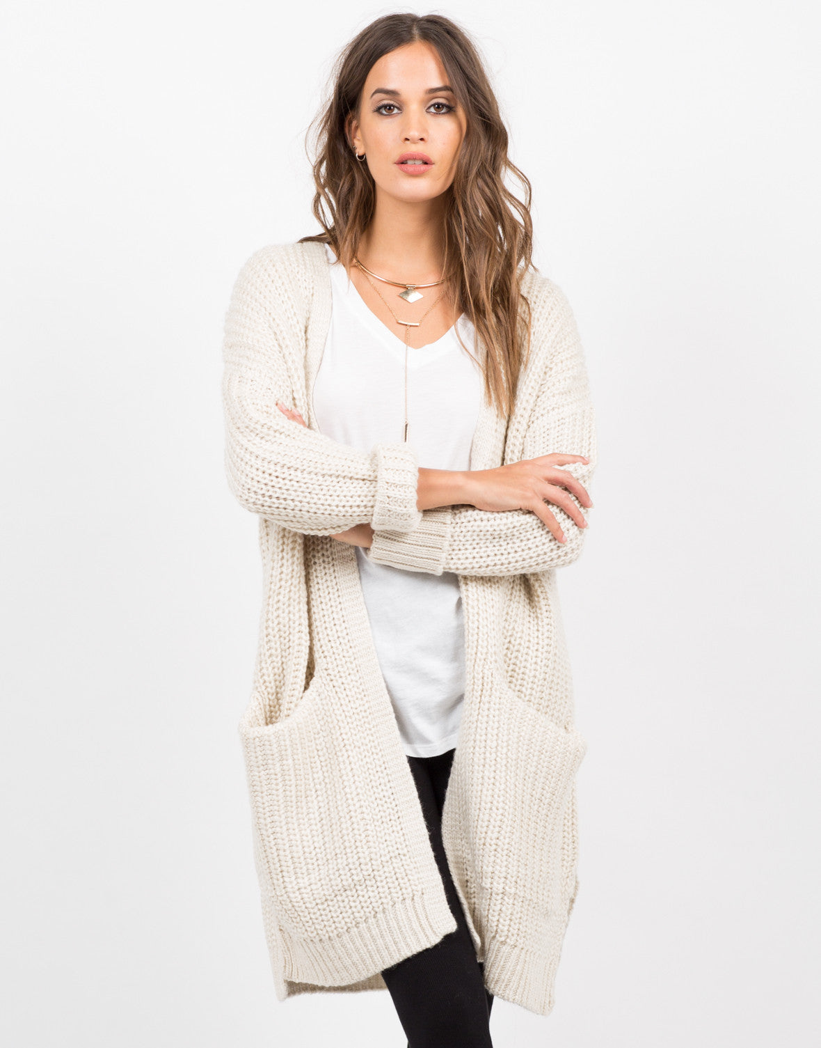 Front View of Chunky Oversized Knit Cardigan