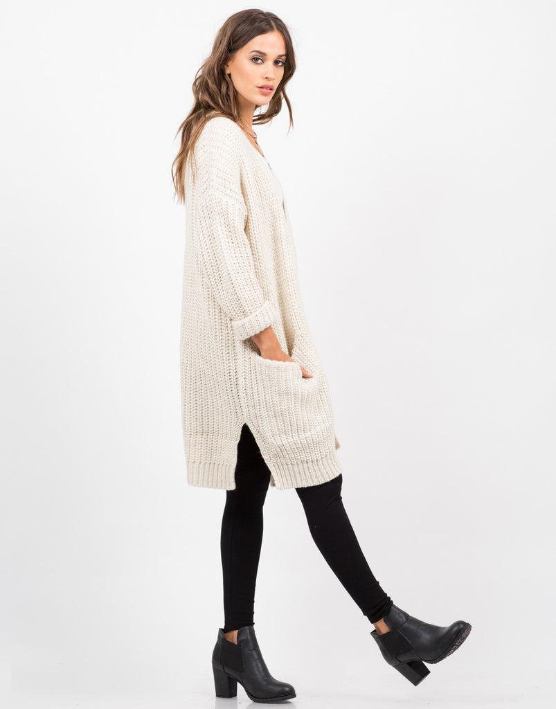 Side View of Chunky Oversized Knit Cardigan