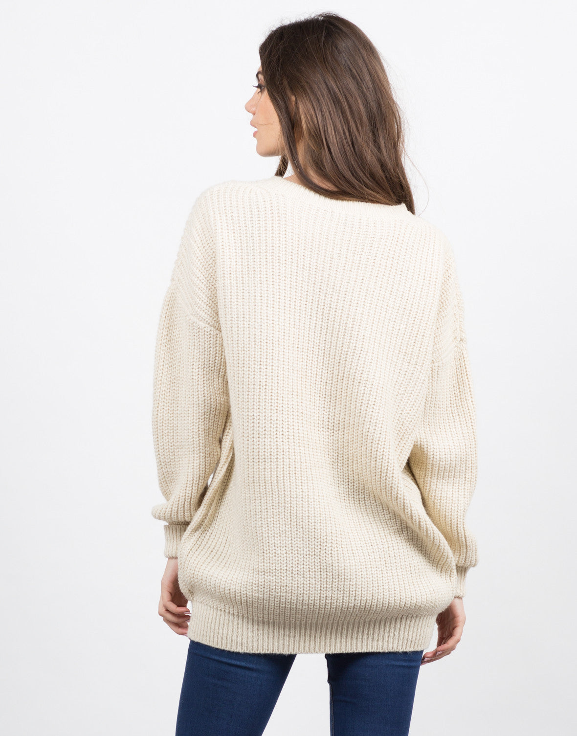 Back View of Chunky Oversized Sweater