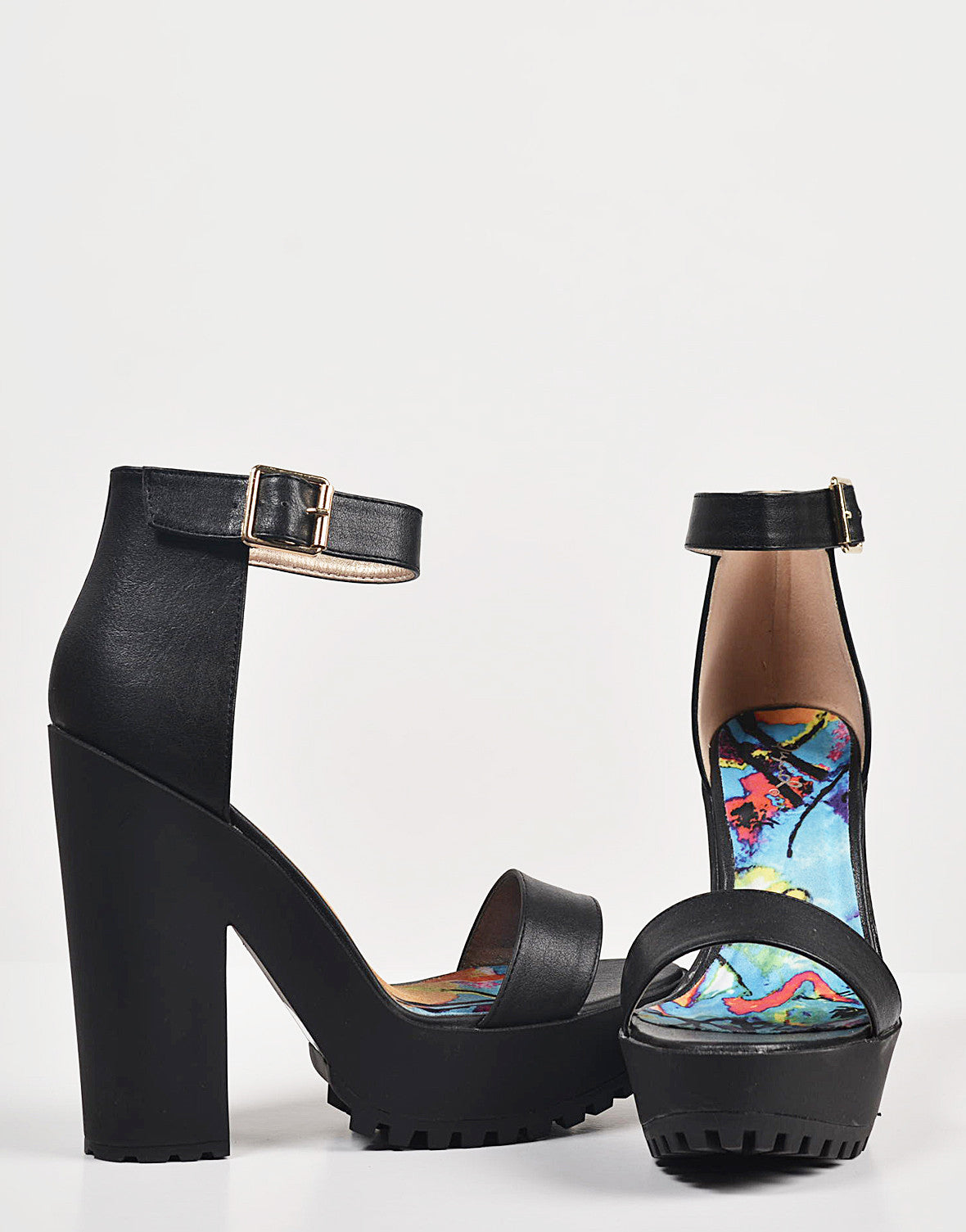 Detail of Chunky Platform Ankle Strapped Heels