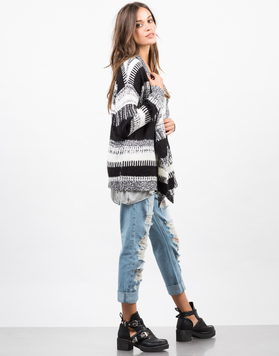 Side View of Chunky Striped Cardigan