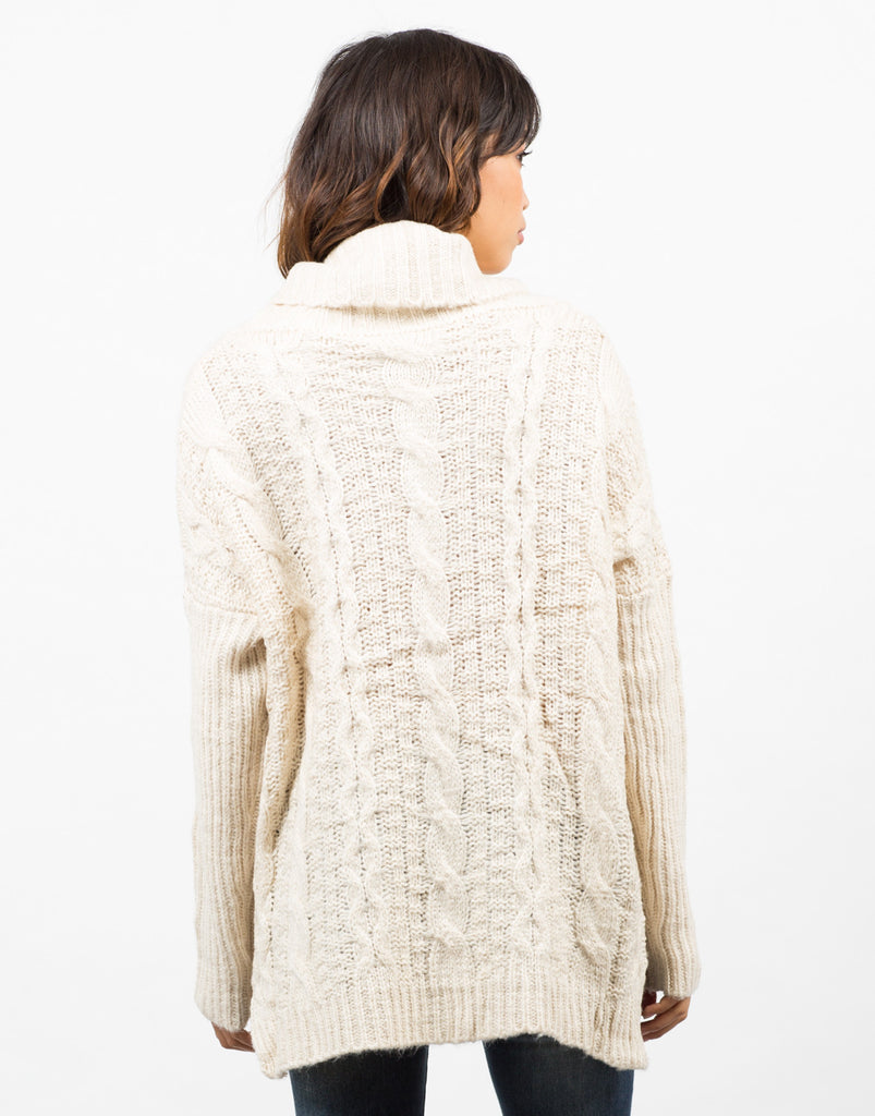 Back View of Chunky Turtleneck Sweater