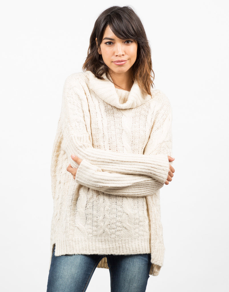 Front View of Chunky Turtleneck Sweater