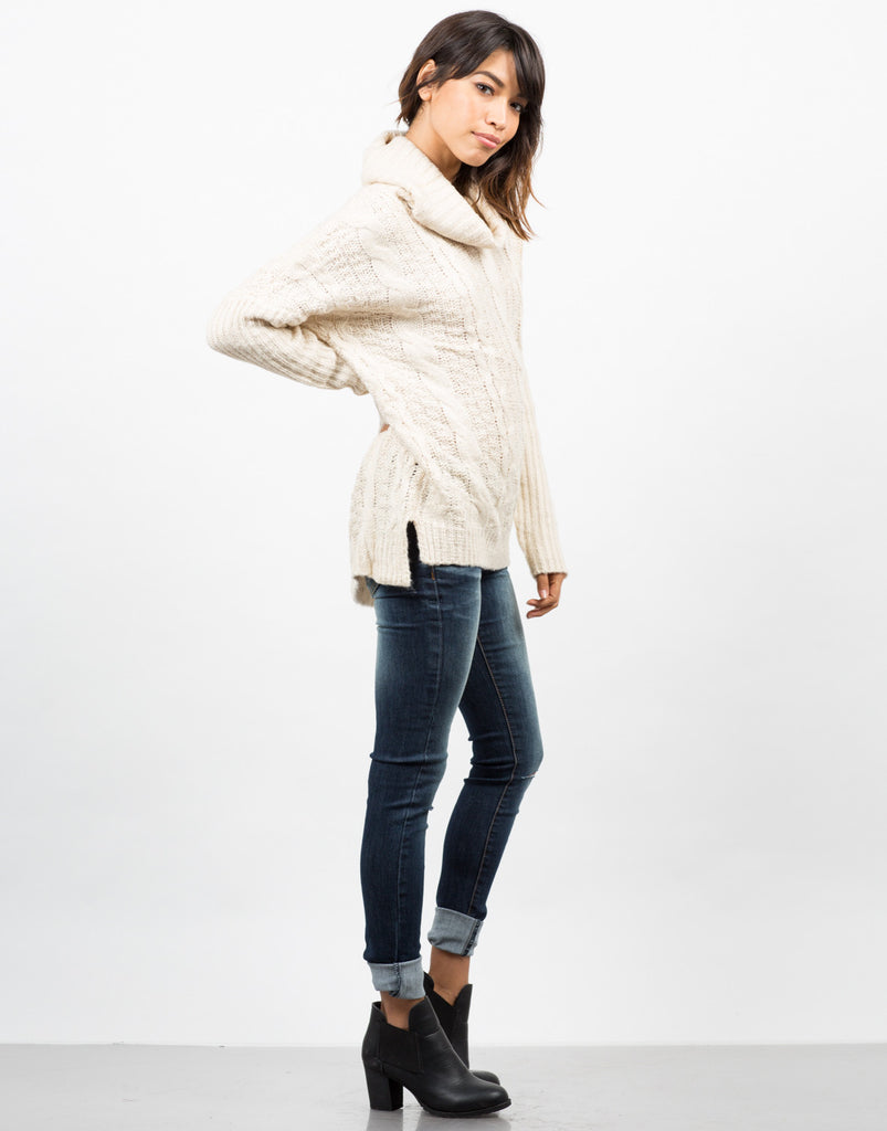 Side View of Chunky Turtleneck Sweater