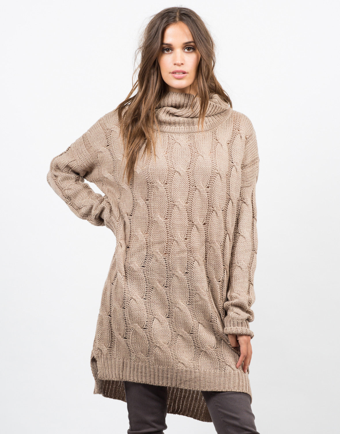 Front View of Chunky Turtleneck Sweater Dress