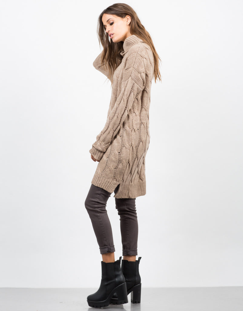 Side View of Chunky Turtleneck Sweater Dress