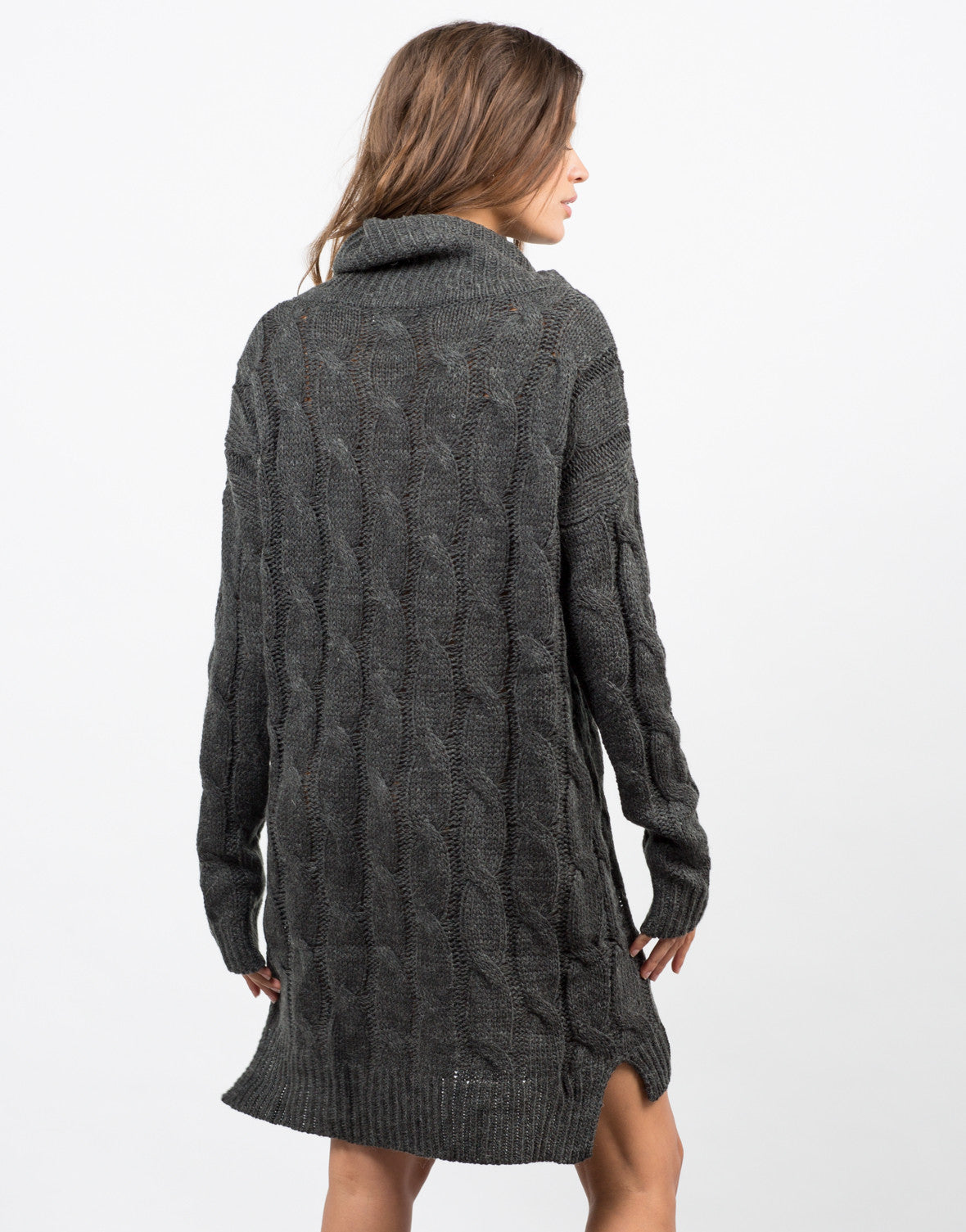 Back View of Chunky Turtleneck Sweater Dress