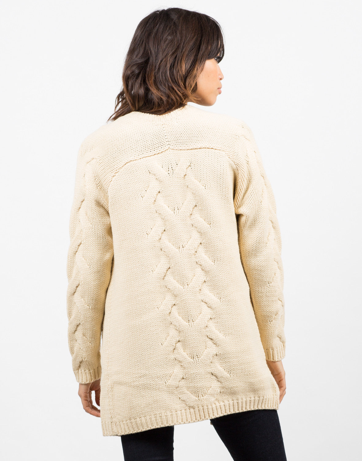 Back View of Chunky Twist Knit Cardigan