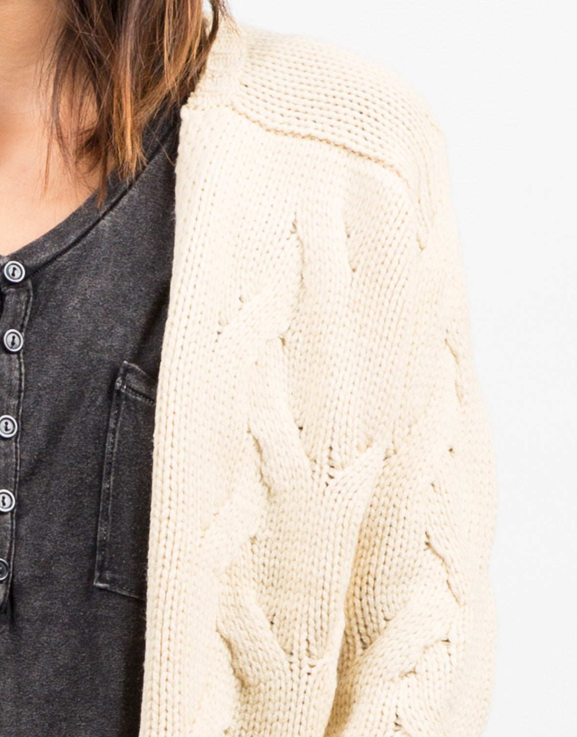 Detail of Chunky Twist Knit Cardigan
