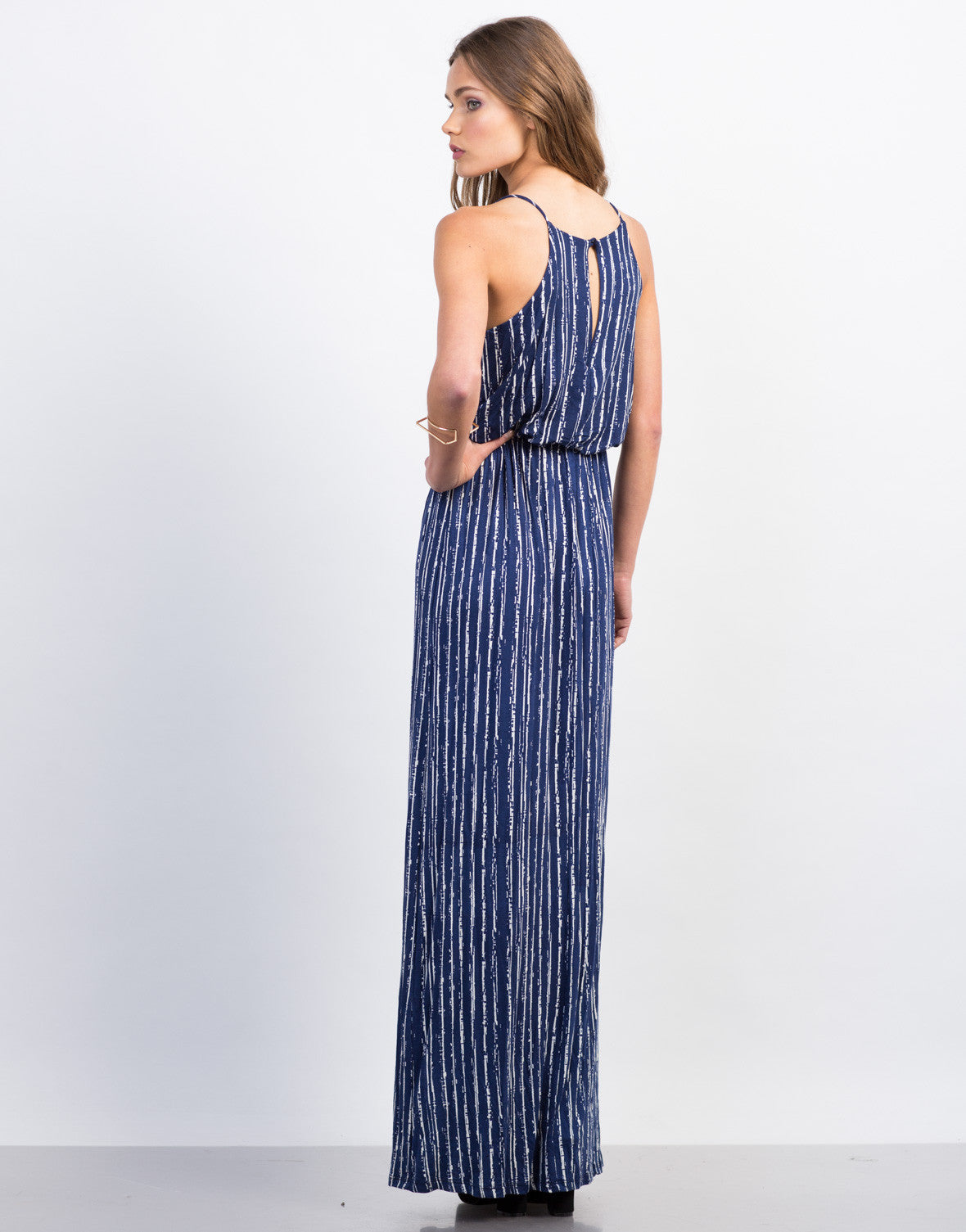 Back View of Cinched Printed Maxi Dress
