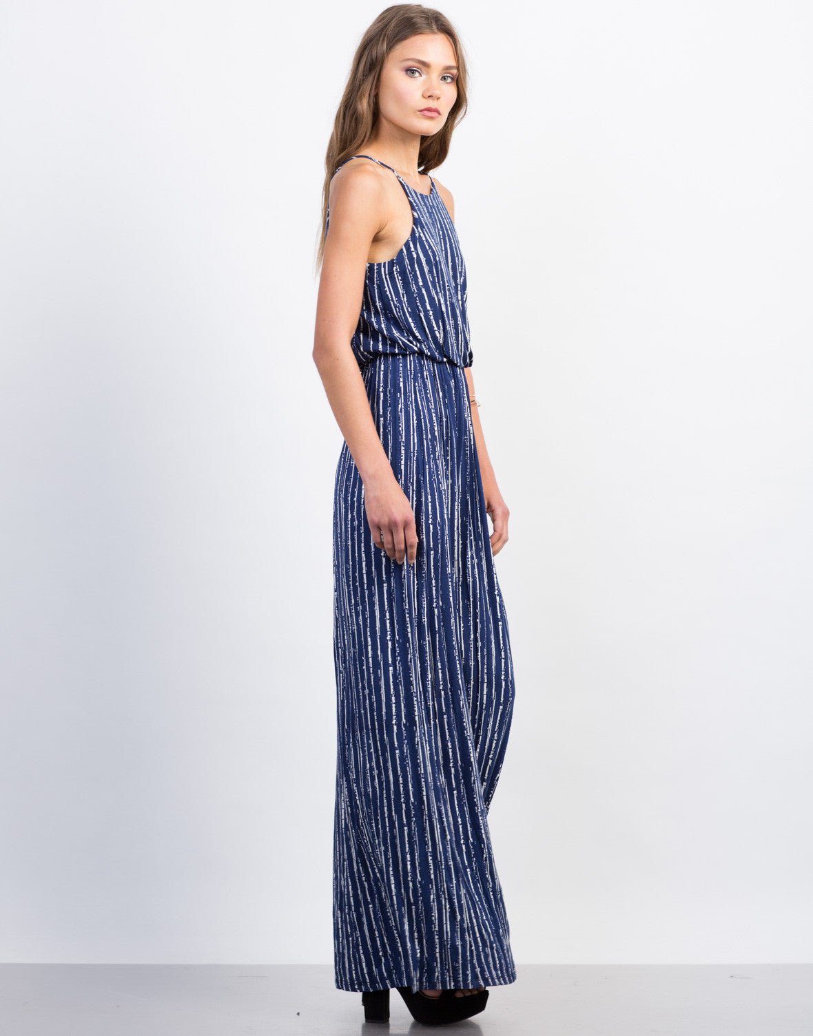 Side View of Cinched Printed Maxi Dress