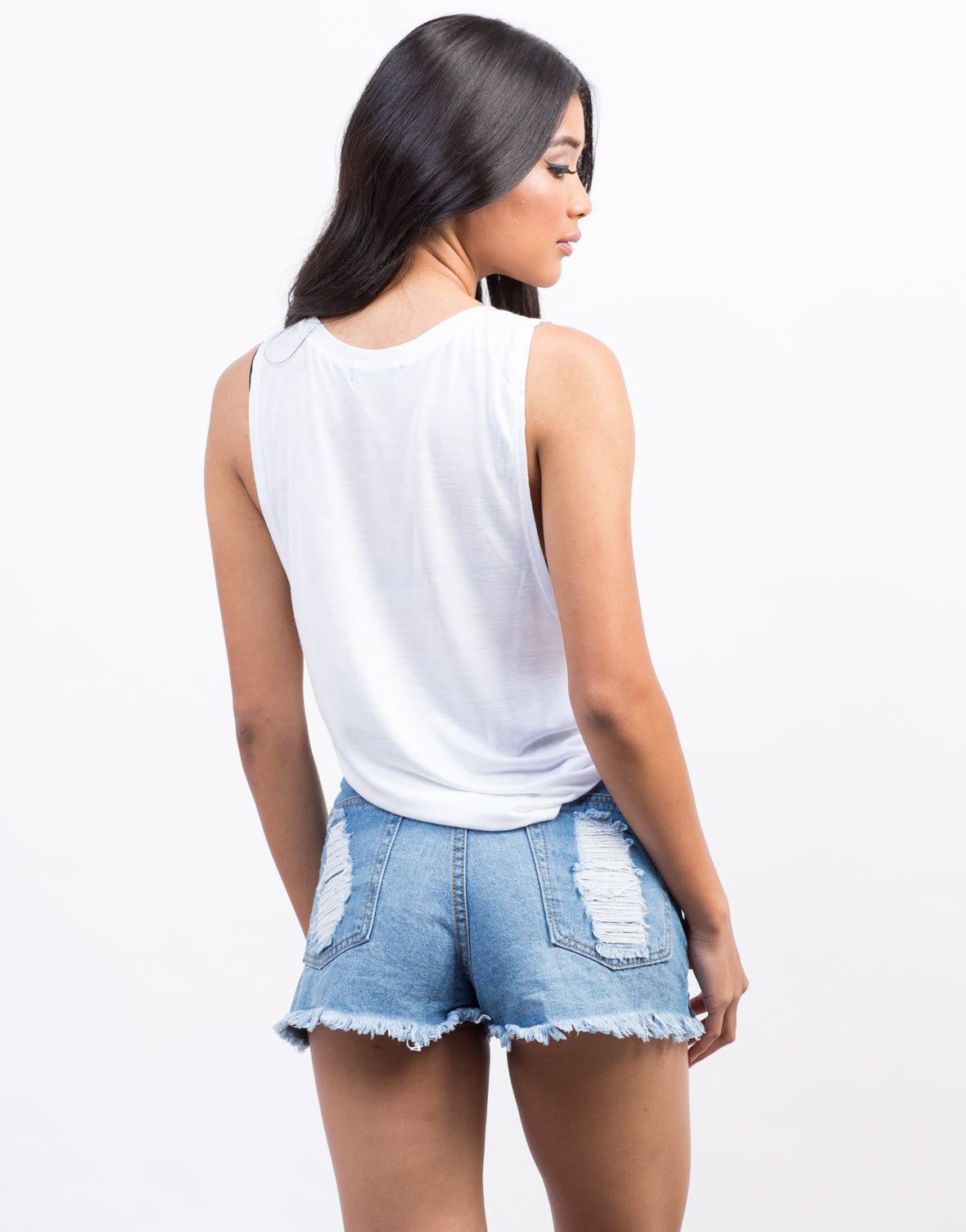 Back View of Cinched Sides Muscle Tee