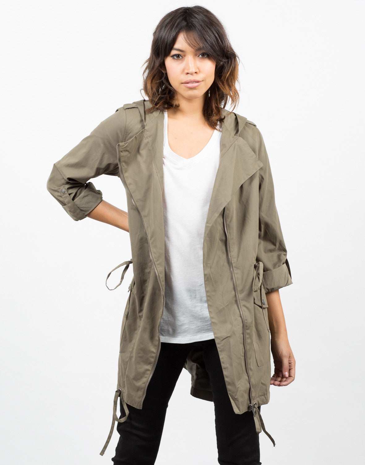 Front View of Cinched Waist Parka