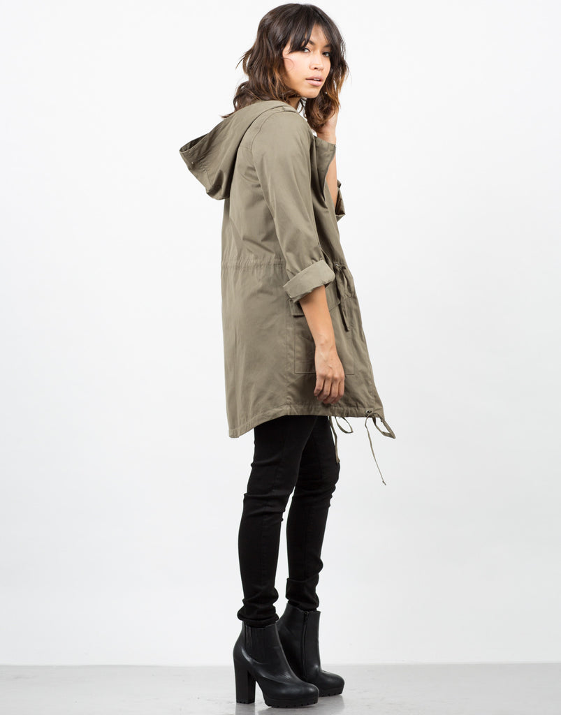 Side View of Cinched Waist Parka