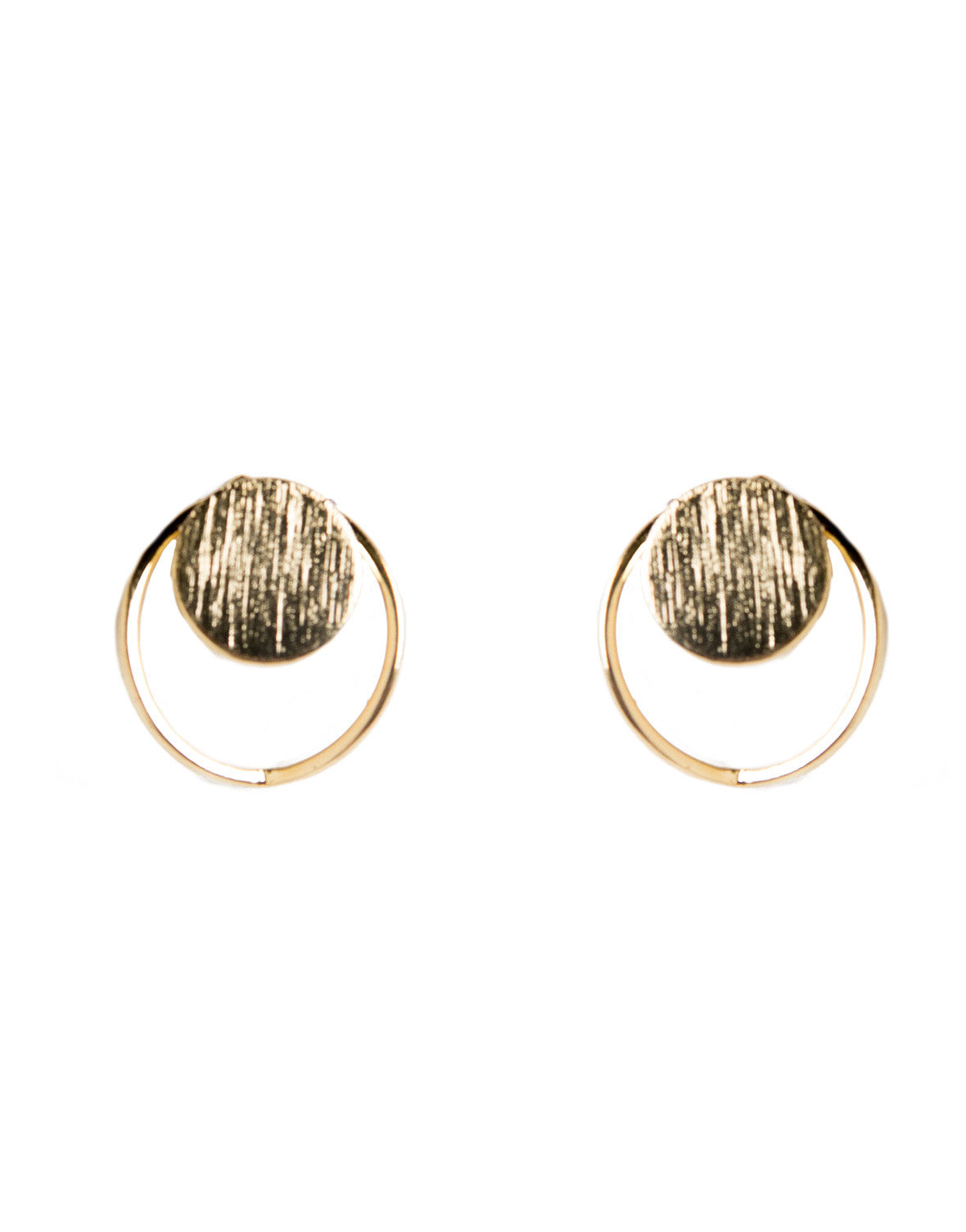 Circle Dot Cut Out Stud Earrings - Gold - Ana GE 7405-Gold