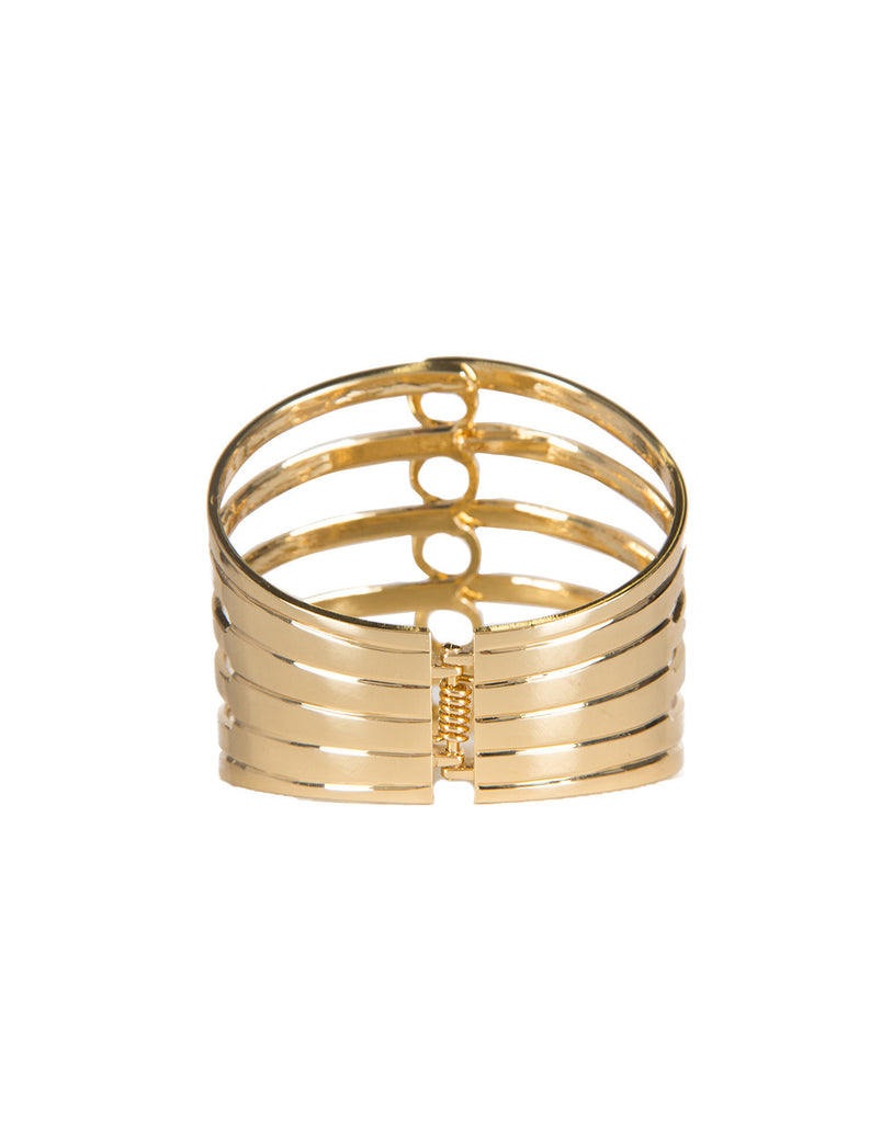 Circle Splash Gold Metal Cuff Bracelet Jewelry Gold One Size -2020AVE