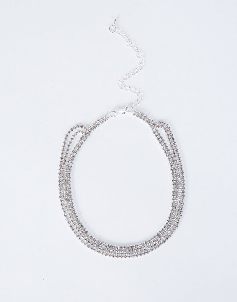 Silver Claire Diamond Choker - Front View